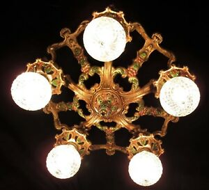 Antique Art Deco Cast Iron Ceiling Chandelier Light Fixture 1930 S