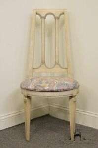 High End French Provincial Antiqued White Vanity Accent Chair