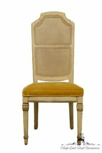 Stanley Furniture French Provincial Antique White Cane Back Dining Side Chair