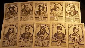 Lot Of 10 Old Engravings Ca 17th Century Of Kings Of France