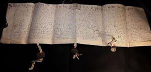 1625 Very Large French Handwriting On Parchment With 2 Mounted Wax Seals