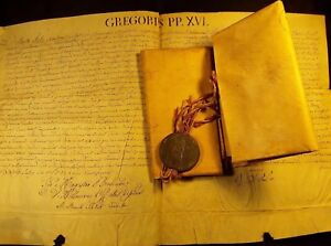 Pope Gregorio Xvi Bulla Large Parchment With Lead Seal 1842 And Brief 1831 Lot