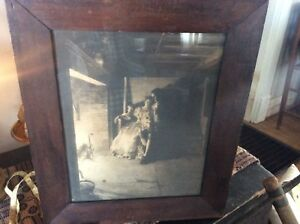 Nice Colonial Primitive Drab Picture Woman And Man By Fire