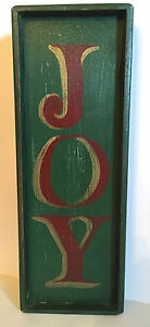 Vintage Primitive Folk Art Joy Sign Hand Made In Usa