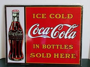 Ice Cold Coca Cola Metal Sign #1047 In Bottles Sold Here Advertising Coke 16