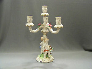Antique Porcelain Candle Holder Dresden Center Piece Von Schierhotz Germany