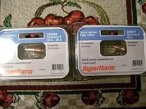 Genuine Hypertherm 220669 Powermax 45 Electrodes 5pk And 220671 Nozzles 5pk F s