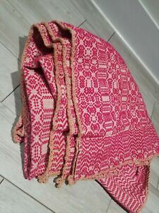 Antique Early 1900s Wool Woven Pink Blanket Coverlet Rare Bedding 69x83 Vintage