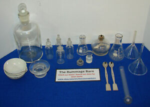 Big Lot Of Assorted Chemistry Lab Glassware Flasks Parts And More Pyrex Kimax