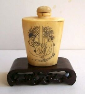 Chinese Tradition Bone Chungong Sex Culture Snuff Bottle