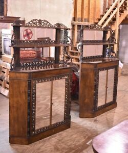 French Antique Pair Of Rosewood Corner Cabinets Attributed To Meeks