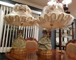Vintage Antique Large Capodimonte Porcelain Lace Women Figurines Lamps Set Of 2