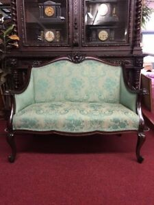 Antique Mahogany Victorian Rococo Settee Reupholstered Delivery Available