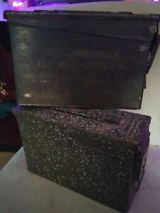 Set of two Vintage Post WWII Army Metal 200 Cartridges 7.62MM M13 Ammo boxes