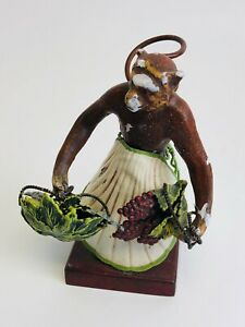 Antique Petite Choses Cast Iron Monkey Figurine W Shell Skirt