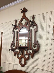 Victorian Walnut Hat Rack With Mirror Gothic Revival Style Delivery Available