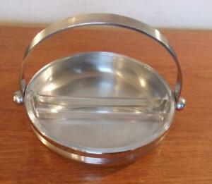 Chase Chrome Glass Divided Candy Nut Dish Art Deco