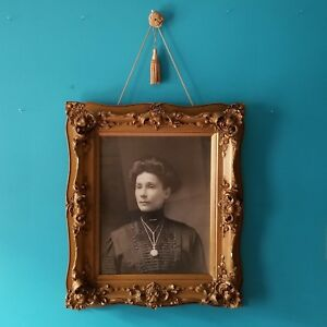 Xl 29 Antique Victorian Mourning Photo Portrait Woman Ornate Gold Picture Frame