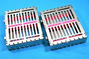 2 German Dental Autoclave Sterilization Cassette Box Tray For 10 Instrument pink