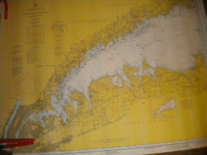 Vintage Nautical Chart 1960s Long Island Sound Western Part 44 X 35