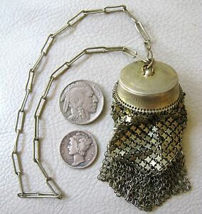Antique Art Nouveau Gold T Chatelaine French Doll Chain Mail Coin Holder Purse
