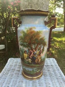 Lg Antique 1800s Victorian Hand Painted Porcelain Vase 3 Women Playing Cello