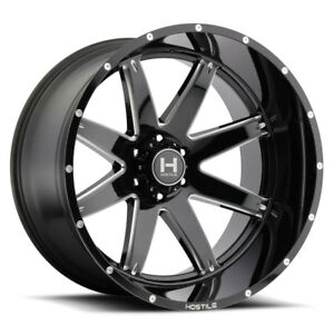 22x12 Hostile H109 Alpha Wheels Black Offroad Rims 35 Tires 8 Lug Chevy Gmc H2