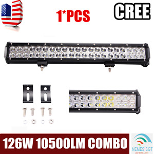 20inch 126w Led Light Bar Flood Spot Work For Driving Car Offroad 4wd Truck Atv