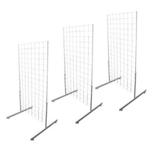 Set Of 3pc White Gridwall Panel T leg Floor Standing Display Hanging 4 Feet Tall