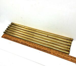 Set Of 6 Antique Brass Bed Rods 1 X26 Tubes Vertical Rails Parts