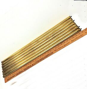 Set Of 7 Antique Brass Bed Rods 1 X31 Tubes Vertical Rails Parts