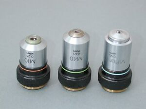 Olympus M10x M40x And Mplan 100x Microscope Objective Set