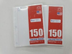 Norcom 150 Sheets College Ruled Notebook Paper 10 1 2 X 8 New Lot Of 2
