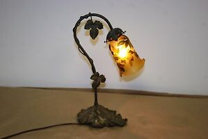 French Art Deco Style Handmade Bronze Table Lamp Galle Style Glass Shade 2