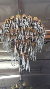 Art Deco 4 Level Wrought Iron Chandelier 54 Flowing Blown Glass Shades 3