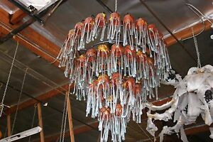 Art Deco 4 Level Wrought Iron Chandelier 54 Flowing Blown Glass Shades 2