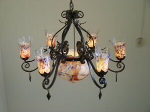 Art Deco Style Hand Made Wrought Iron Chandelier Purple Blown Glass Shades