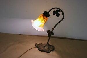 French Art Deco Style Handmade Bronze Table Lamp Galle Style Blown Glass Shade