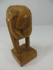 Vintage Hand Carved Wood Man W Head Up His Ass Funny Huta Gag Trophy