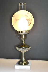 Antique Brass Desk Table Lamp With Frosted Floral Hurricane Globe