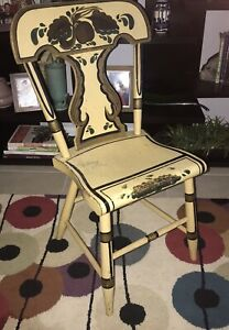 Early Antique Paint Decorated Plank Bottom Chair Folk Art