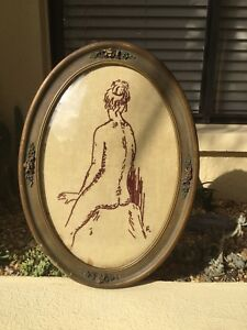 Vintage Oval Convex Bubble Glass Picture Frame 23 X17 W Female Nude Needlepoint