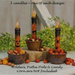 Halloween Timer Taper Candles 3 Pcs 6 75 Cat Jack O Lantern Face Spiders Grungy