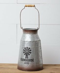 Farmhouse Milk Can With Windmill Decorative Canister Pitcher Vase Vintage Look