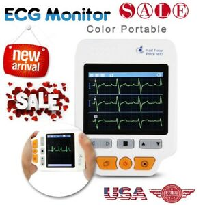 Portable 180d Ecg Monitor Heal Force Colors Lcd Lead Cables 50pcs Ecg Electrodes