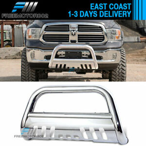 Fits 09 17 Dodge Ram 1500 Stainless Bull Bar Brush Guard With Skid Plate Chrome
