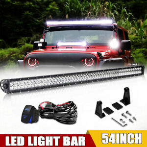 Dual Row 54 inch 3600w Straight Led Light Bar Offroad Suv 4wd Truck Atv 52 54