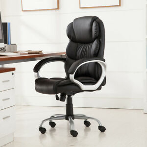 High Back Pu Leather Executive Office Desk Task Computer Boss Luxury Black Chair