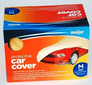 Meijer Non abrasive Triple Layer Protective Car Cover Uv Protection Medium New