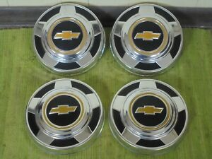 Nos 73 87 Chevy Dog Dish 10 1 2 Hubcaps Set Of 4 C10 Truck Van 1 2 Ton 15